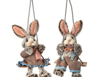 """Sale!!! 18"""" Fluffy Bunny Couple on Swings/Wreath Supplies/Easter Decor/Easter Bunny's/MT19903"""