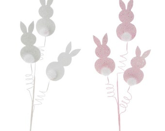 """Raz Imports 27.5"""" Bunny w/ Puff Tail Spray-Set of 2/Wreath Supplies/Easter Bunny Pick/Easter DecorF3702044"""