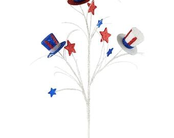 "30"" Glitter Red-White & Blue Top Hat Spray/Wreath Supplies/Patriotic Picks/Fourth of July Decor/74039RWB"