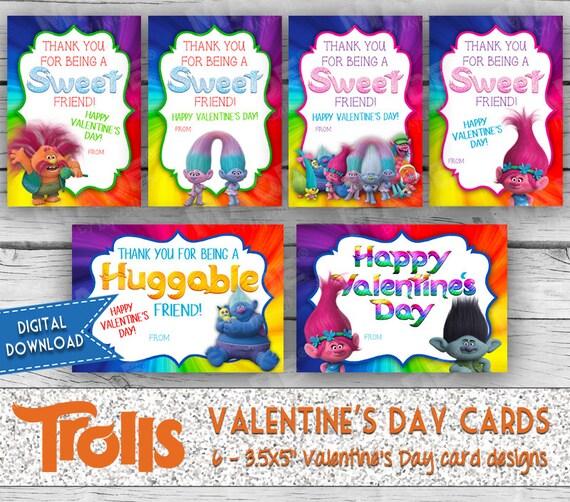 Trolls Printable Valentines Cards