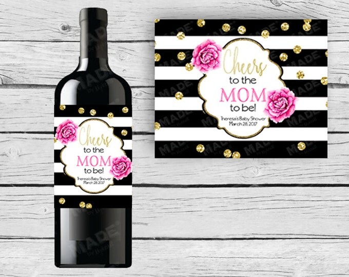 BABY Shower WINE Bottle LABELS - Pink Peonies, Black and White Stripe Champagne Label, Black Pink & Gold, Cheers