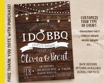 texas bbq couples wedding shower invitation