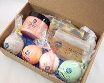 Gift Set: 2 Soaps + 4 Small Bath Bombs + 1 Whipped Sugar Scrub   Handmade Soap Gift Box - Bath Bomb Gift Box - Sugar Scrub Gift Box