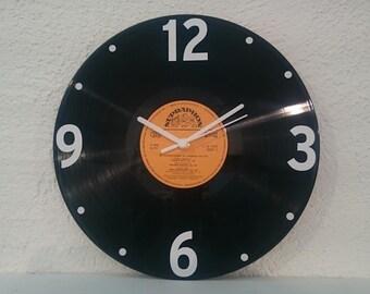 Uhr aus Schallplatte Supraphon orang  LP Vinyl Deko Wall Clock Time