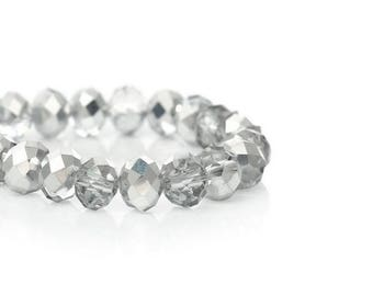 70 beads faceted silver 8mm crystal glass