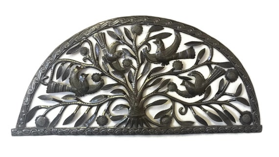 "Arch Tree of Life Garden Haiti Metal Wall Decor 34"" x 17"""