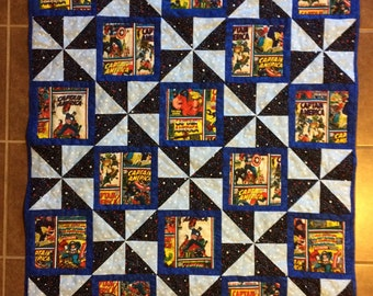 SALE! Captain America Quilt, Baby Quilt, Toddler Quilt, 38x45 inches - SALE PRICE 99, Reg 125