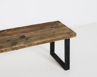 Reclaimed Wood Bench, Wide Bench Seat with Sturdy Steel Legs built from Reclaimed Wood