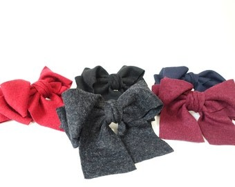 Hair Bow Woolen Fabric Bow French Barrette Clip Women Hair Accessories