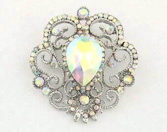 AB Rhinestone Brooch, Iridescent Aurora Borealis Brooch, Iridescent Brooch, Aurora Borealis Wedding Brooch, Iridescent Bridal Brooch