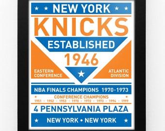 New York Knicks Dual Tone Modern Team Print Framed