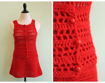 Vintage 1970's Red Knit Skirt and Vest Set |  Size XXS