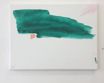 Standing still - green modern abstract painting