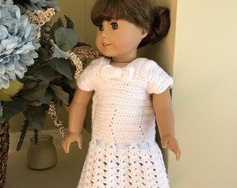 18 inch Doll Dress - Handmade Crochet - White with Bow and Heart Buttons for 18 inch American Girl Doll - D11