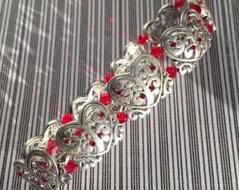 Heart Bracelet, Silver Heart Bracelet, Silver and Red Swarovski Bead Stretch Cord Bracelet