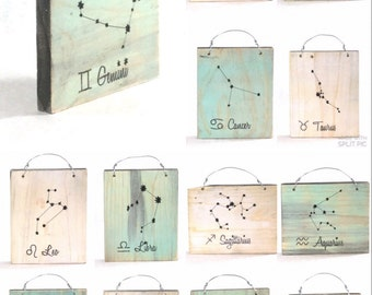 Gemini Constellation Zodiac Sign - Reclaimed Wood Signs