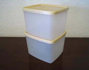Tupperware Square Freezer Containers – Set of 2 – Vintage Tupperware #312 with Beige/Tan Lids #310