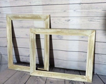 gallery frame set of two distressed gray white wooden picture frames gallery frame set hangable frames frame set of 2