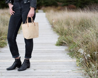 Small Waxed Cotton Canvas Tote Bag - Leather Handles
