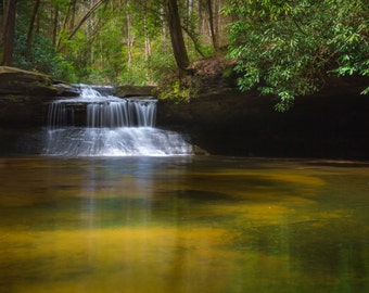 Kentucky Waterfall, Red River Gorge, Kentucky photography, landscape photograph, wall decor, nature photography, reflection, Creation Falls
