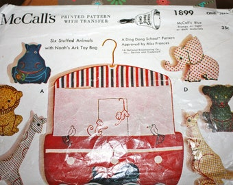 RARE Pattern for Noah's Ark Toy Bag or Coverlet---Ding Dong School Pattern---McCalls 1899********
