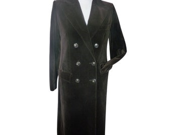 GUY LAROCHE vintage 70s/80s - Brown velvet frock coat - size 38 GB
