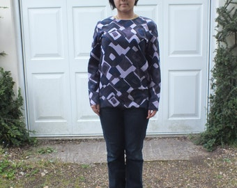 Hand Made Optic Geometric Print Shades of Purple Straight Cut Blouse/1960s style/Long sleeves/Small/Late 1980s