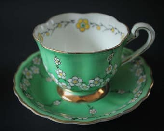 1920s Noritake Green Tea Cup and Saucer with White Flowers China Porcelain