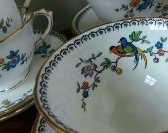 Art Deco tea Cups, Tuscan China, unpainted porcelain, art deco, Tuscan China Paradise Bird, Christmas gift, high tea, antique tea cups