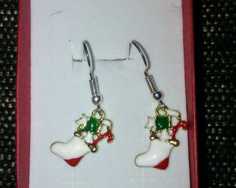 Silver Plated Christmas Stocking Danglng Earrings