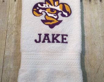 Set of 2 Personalized LSU Tiger Eye Hand Towels