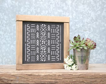Mudcloth Embroidery | DIY Pocket Frame Insert Kit | SIZE A | Frame Not Included
