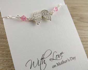 Sterling silver angel wing bracelet~choice of crystal bracelet~silver angel wing~silver angel wing charm bracelet~mothers day gift