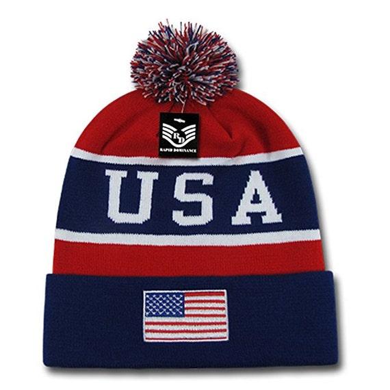 Usa American Flag Emroidered Pom Pom Beanie Hat