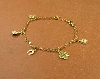 Bracelet of LUCKY charm bracelet bracelet lucky new year's Eve, brass gold pendant Horseshoe clover Ladybug