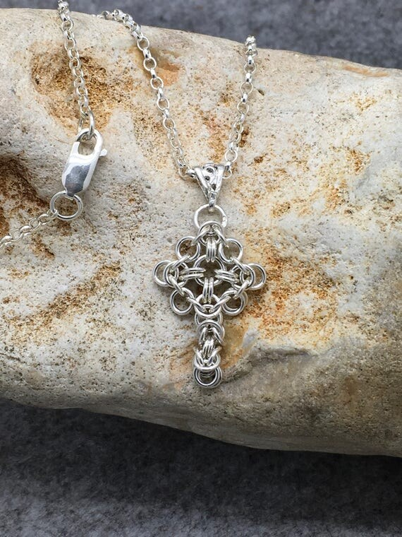 Handcrafted Sterling Silver Chainmaille Celtic Crossed.