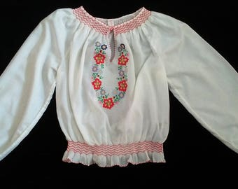 Hand Made Hungarian Kalocsa Floral Embroidered Wearable Women's Blouse Size EU 38 / UK 10