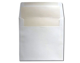 25 Square White with New Pearl Lined Envelopes - CLEARANCE 10 CENTS EACH