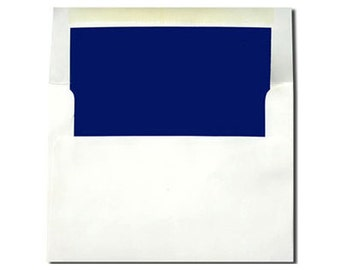 20 White with Navy Blue Lined Envelopes in A7 and A2 Sizes