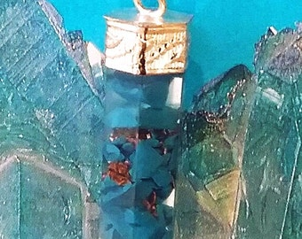 Rare Orgone 6 Sided TURQUOISE Crystal PENDANT with Silver Top and Chain, Orgonite Energy Necklace, Reiki Balance