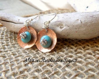 Hammered Copper Earrings, Mixed Metal Earrings, Turquoise Earrings, Dainty Earrings, Lightweight earrings, Artisan Earrings, Boho earrings