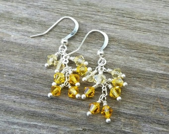 Cascade crystal earrings, shades of yellow, ombre effect, Swarovski crystal, handmade earrings, jewelry