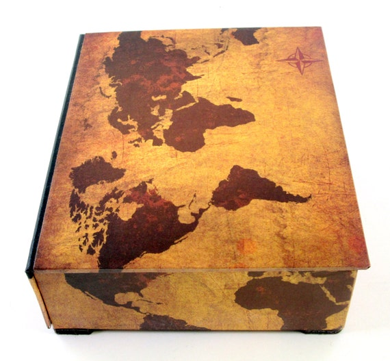 Decorative box world map on vintage leather look desk decorative box world map on vintage leather look desk organizer table decor mens gift made to order gumiabroncs Image collections