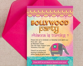 Personalised Bollywood Indian Kids Party Invitation Cards