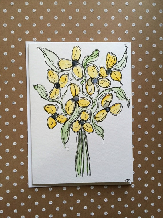 Original Watercolor Flower Card, Hand Painted Card, Watercolor Card, Flower Note Card, Flower Stationary