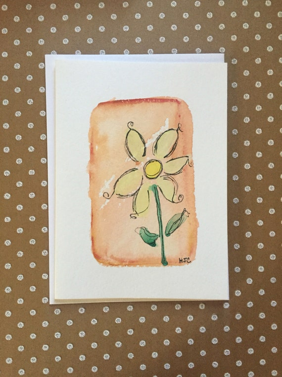 Watercolor and Ink Daisy Card, Hand Painted Daisy Card, Homemade Daisy Card, Daisy Greeting Card