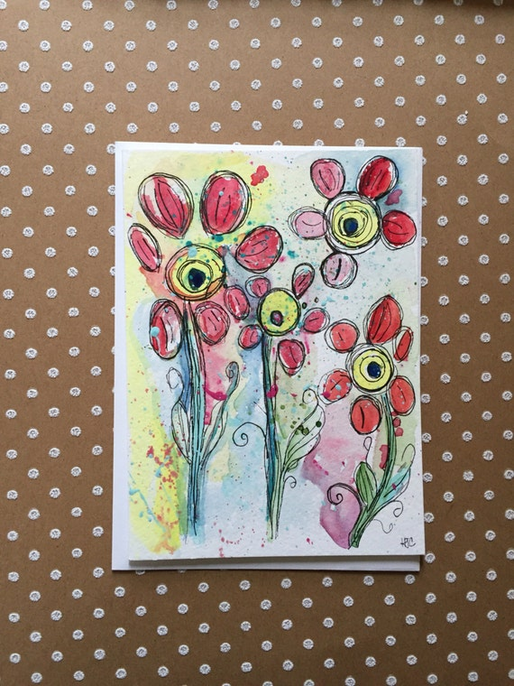 Original Hand Painted Flower Card,  Watercolor Flower Card,  Flower Greeting Card, Homemade Card