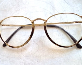 80s Gucci Round Eyeglasses Tortoise Gold Wire Rim GG2326 Sunglasses Lennon Hipster Vintage Glasses Womens 52-17 Frame Costume Movie Prop