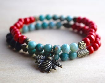 BEE COURAGEOUS // Bloodstone Bracelet Set / Essential Oil Diffuser Bracelets / Save the Bees Charm / Meditation Bracelet / Yoga Bracelet