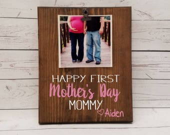 First Mothers Day Picture Frame gift! Gift for mom, photo board, clip, gift for wife, mother, mommy, grandma, nana, memaw, mimi, mama  7x9
